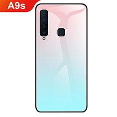 Custodia Silicone Specchio Laterale Sfumato Arcobaleno Cover per Samsung Galaxy A9s Ciano