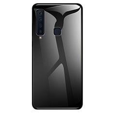 Custodia Silicone Specchio Laterale Sfumato Arcobaleno Cover per Samsung Galaxy A9s Nero