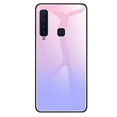 Custodia Silicone Specchio Laterale Sfumato Arcobaleno Cover per Samsung Galaxy A9s Viola