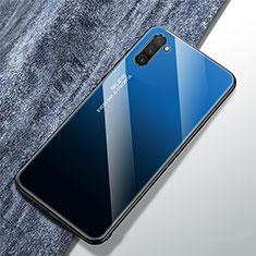 Custodia Silicone Specchio Laterale Sfumato Arcobaleno Cover per Samsung Galaxy Note 10 5G Blu