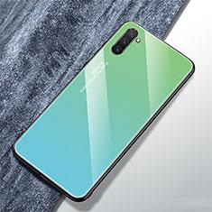 Custodia Silicone Specchio Laterale Sfumato Arcobaleno Cover per Samsung Galaxy Note 10 Ciano