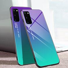 Custodia Silicone Specchio Laterale Sfumato Arcobaleno Cover per Samsung Galaxy S20 5G Multicolore