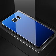 Custodia Silicone Specchio Laterale Sfumato Arcobaleno Cover per Samsung Galaxy S7 Edge G935F Blu