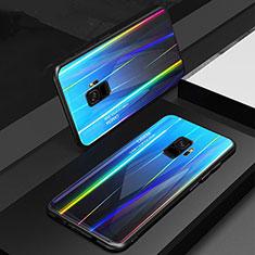 Custodia Silicone Specchio Laterale Sfumato Arcobaleno Cover per Samsung Galaxy S9 Blu