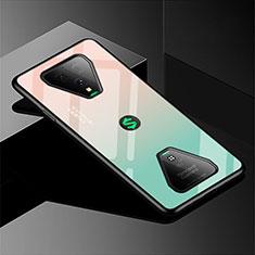 Custodia Silicone Specchio Laterale Sfumato Arcobaleno Cover per Xiaomi Black Shark 3 Verde