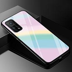Custodia Silicone Specchio Laterale Sfumato Arcobaleno Cover per Xiaomi Mi 10T Pro 5G Colorato