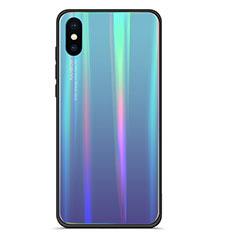Custodia Silicone Specchio Laterale Sfumato Arcobaleno Cover per Xiaomi Mi 8 Explorer Blu