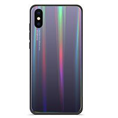 Custodia Silicone Specchio Laterale Sfumato Arcobaleno Cover per Xiaomi Mi 8 Explorer Grigio
