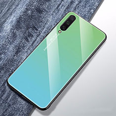 Custodia Silicone Specchio Laterale Sfumato Arcobaleno Cover per Xiaomi Mi A3 Ciano
