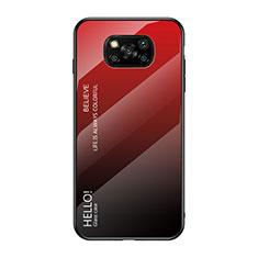 Custodia Silicone Specchio Laterale Sfumato Arcobaleno Cover per Xiaomi Poco X3 NFC Rosso