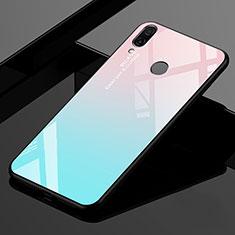 Custodia Silicone Specchio Laterale Sfumato Arcobaleno Cover per Xiaomi Redmi 7 Ciano
