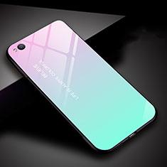 Custodia Silicone Specchio Laterale Sfumato Arcobaleno Cover per Xiaomi Redmi Go Ciano