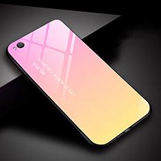 Custodia Silicone Specchio Laterale Sfumato Arcobaleno Cover per Xiaomi Redmi Go Rosa