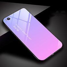 Custodia Silicone Specchio Laterale Sfumato Arcobaleno Cover per Xiaomi Redmi Go Viola