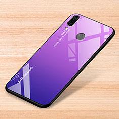 Custodia Silicone Specchio Laterale Sfumato Arcobaleno Cover per Xiaomi Redmi Note 7 Pro Viola