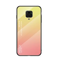 Custodia Silicone Specchio Laterale Sfumato Arcobaleno Cover per Xiaomi Redmi Note 9 Pro Max Giallo