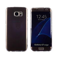 Custodia Silicone Trasparente A Flip Morbida Cover per Samsung Galaxy S7 Edge G935F Grigio
