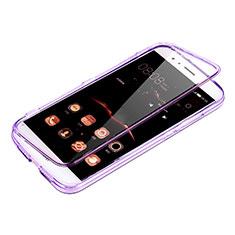 Custodia Silicone Trasparente A Flip Morbida per Huawei G8 Viola