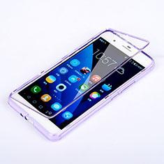 Custodia Silicone Trasparente A Flip Morbida per Huawei Honor 6 Plus Viola