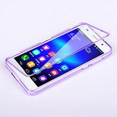Custodia Silicone Trasparente A Flip Morbida per Huawei Honor 6 Viola