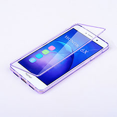 Custodia Silicone Trasparente A Flip Morbida per Huawei Honor 6X Pro Viola