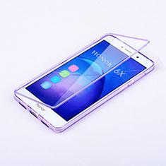 Custodia Silicone Trasparente A Flip Morbida per Huawei Honor 6X Viola