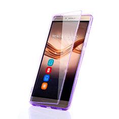 Custodia Silicone Trasparente A Flip Morbida per Huawei Honor Note 8 Viola
