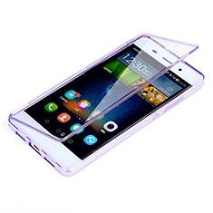 Custodia Silicone Trasparente A Flip Morbida per Huawei P8 Lite Viola