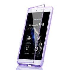 Custodia Silicone Trasparente A Flip Morbida per Huawei P8 Viola