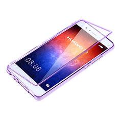 Custodia Silicone Trasparente A Flip Morbida per Huawei P9 Viola