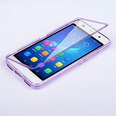 Custodia Silicone Trasparente A Flip Morbida per Huawei Y6 Viola