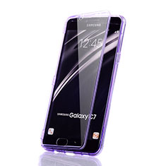 Custodia Silicone Trasparente A Flip Morbida per Samsung Galaxy C7 SM-C7000 Viola
