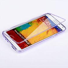 Custodia Silicone Trasparente A Flip Morbida per Samsung Galaxy Note 3 N9000 Viola