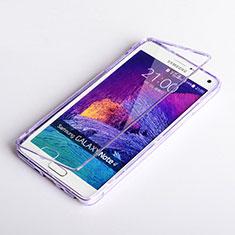 Custodia Silicone Trasparente A Flip Morbida per Samsung Galaxy Note 4 Duos N9100 Dual SIM Viola