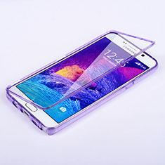 Custodia Silicone Trasparente A Flip Morbida per Samsung Galaxy Note 5 N9200 N920 N920F Viola