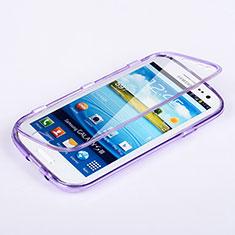 Custodia Silicone Trasparente A Flip Morbida per Samsung Galaxy S3 4G i9305 Viola