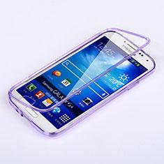 Custodia Silicone Trasparente A Flip Morbida per Samsung Galaxy S4 IV Advance i9500 Viola