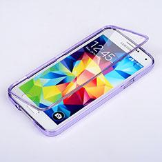 Custodia Silicone Trasparente A Flip Morbida per Samsung Galaxy S5 G900F G903F Viola