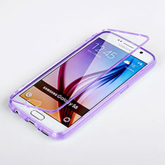 Custodia Silicone Trasparente A Flip Morbida per Samsung Galaxy S6 Duos SM-G920F G9200 Viola
