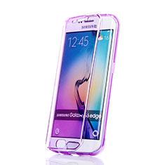 Custodia Silicone Trasparente A Flip Morbida per Samsung Galaxy S6 Edge SM-G925 Viola