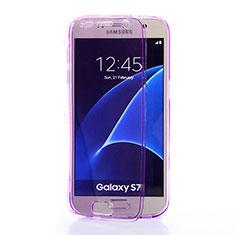 Custodia Silicone Trasparente A Flip Morbida per Samsung Galaxy S7 G930F G930FD Viola