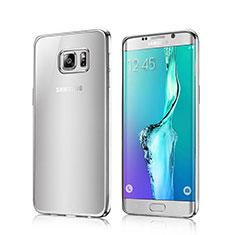 Custodia Silicone Trasparente Laterale per Samsung Galaxy S6 Edge SM-G925 Argento