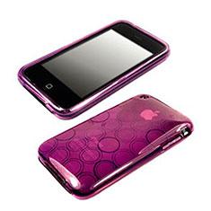 Custodia Silicone Trasparente Morbida Cerchio per Apple iPhone 3G 3GS Viola