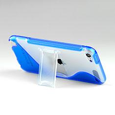 Custodia Silicone Trasparente Morbida S-Line con Supporto per Apple iPod Touch 5 Blu