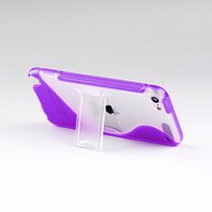 Custodia Silicone Trasparente Morbida S-Line con Supporto per Apple iPod Touch 5 Viola