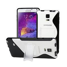 Custodia Silicone Trasparente Morbida S-Line con Supporto per Samsung Galaxy Note 4 SM-N910F Nero