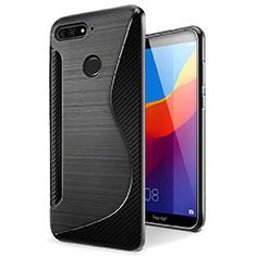 Custodia Silicone Trasparente Morbida S-Line Cover per Huawei Honor 7A Nero