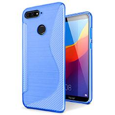 Custodia Silicone Trasparente Morbida S-Line Cover per Huawei Y6 Prime (2018) Blu
