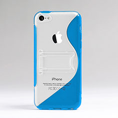 Custodia Silicone Trasparente Morbida S-Line per Apple iPhone 5C Blu