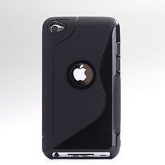 Custodia Silicone Trasparente Morbida S-Line per Apple iPod Touch 4 Nero